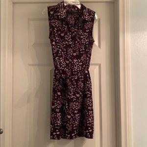Sleeveless print shirt dress